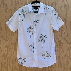 Pacsun white with palm trees button down